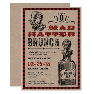 De gekke Partij van de Brunch van de Hoedenmaker 12,7x17,8 Uitnodiging Kaart