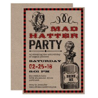 De gekke Partij van Unbirthday van de Hoedenmaker 12,7x17,8 Uitnodiging Kaart
