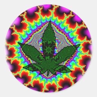 De gekke Pret Rasta van het Onkruid van de Rook Ronde Sticker