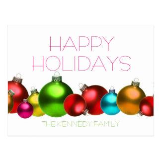 De gekleurde ballen van het Kerstmisglas Briefkaart
