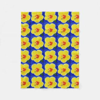 De gele Bloem van de Hibiscus Fleece Deken