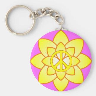 De Gele Bloem van het Symbool van de vrede - Sleutelhanger
