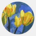 De gele BloemenStickers van Tulpen Ronde Sticker