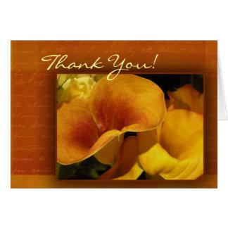 De gele calla lelie dankt u kaardt! briefkaarten 0