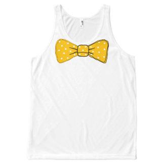 De gele Druk van de Vlinderdas met het Witte All-Over-Print Tank Top