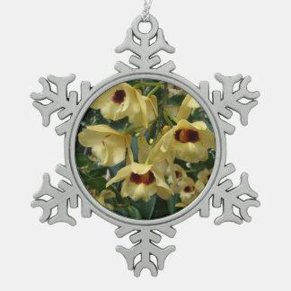 De gele en Kastanjebruine Elegante BloemenFoto van Tin Sneeuwvlok Ornament