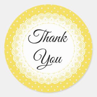 De gele en Witte Stip dankt u Stickers