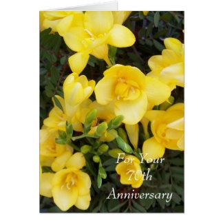 de Gele Fresia's van de 70ste Verjaardag van het H Kaart