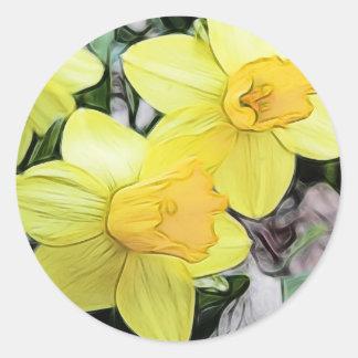 De gele Gele narcissen van de Lente Ronde Sticker