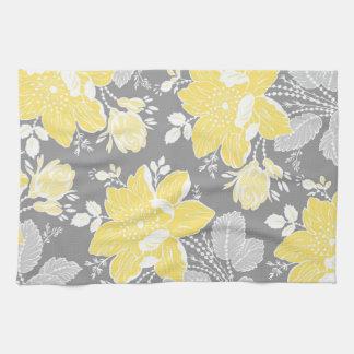 De gele Grijze BloemenHanddoek van de Doek van de Handdoek