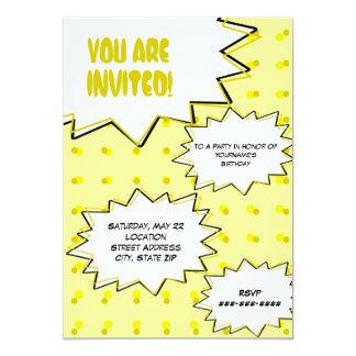 De gele Halftone Grappige Geïnspireerde 12,7x17,8 Uitnodiging Kaart