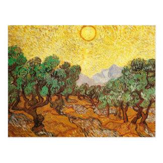 De Gele Hemel van olijfbomen & Sun Van Gogh Fine Briefkaart