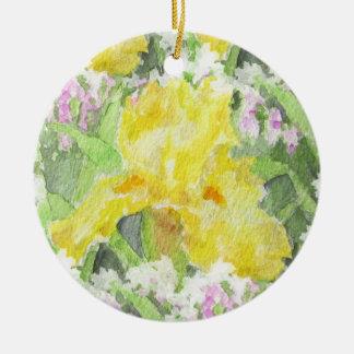 De gele Lange Gebaarde Waterverf van de Iris Rond Keramisch Ornament