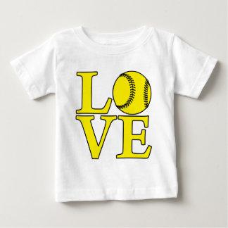 De gele LIEFDE van het softball, Baby T Shirts