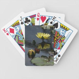 De gele Speelkaarten van Lotus Waterlilies Bicycle Speelkaarten