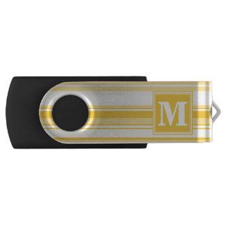 De gele strepen van het monogram swivel USB 2.0 stick