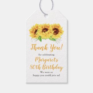 De gele Verjaardag van de Zonnebloem tachtigste Cadeaulabel