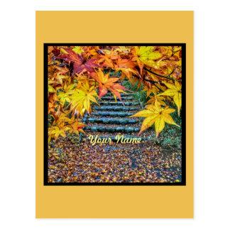 De gele Vierkante Bladeren van de Herfst van de Briefkaart