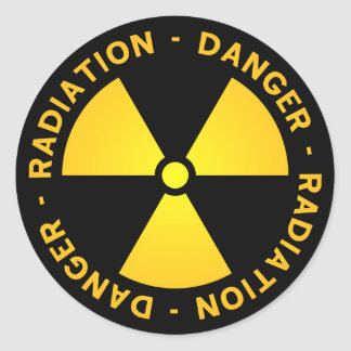De gele Waarschuwing van de Straling Ronde Sticker