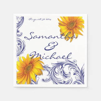 De Gele Zonnebloemen van versierd Koningsblauwen Papieren Servetten
