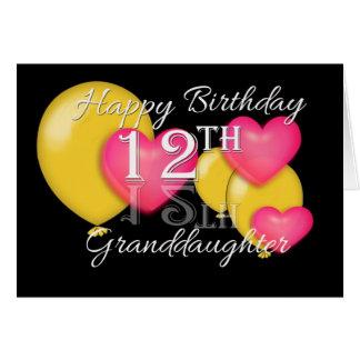 De gelukkige 12de Kleindochter van de Verjaardag Briefkaarten 0