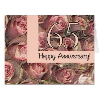 De gelukkige 65ste rozen van de Verjaardag Wenskaart