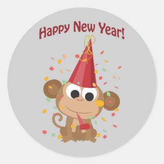 De gelukkige Aap van het Nieuwjaar Ronde Sticker