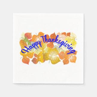 De gelukkige achtergrond van de Thanksgiving met Papieren Servet