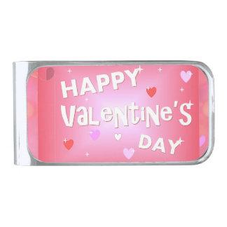 De gelukkige achtergrond van de Valentijnsdag Verzilverde Geldclip