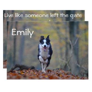 De gelukkige Afstuderen van de Hond van Border 12,7x17,8 Uitnodiging Kaart
