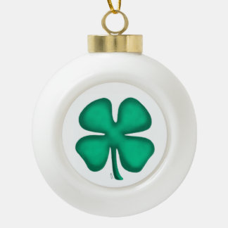 De gelukkige bal van Kerstmis van de Klaver van 4 Keramische Bal Ornament