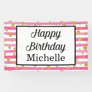 De gelukkige Banner van de Verjaardag - Roze en