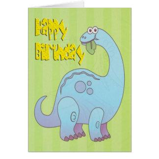 De gelukkige Blauwe Dinosaurus van de Verjaardag Wenskaart