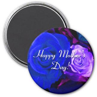 De gelukkige Blauwe Paarse Rozen van het Moederdag Koelkast Magneetjes
