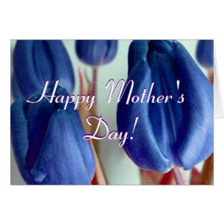 De gelukkige Blauwe Tulpen van het Moederdag Wenskaart