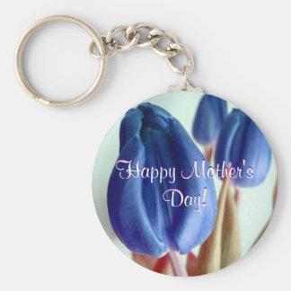 De gelukkige Blauwe Tulpen van het Moederdag Sleutelhanger
