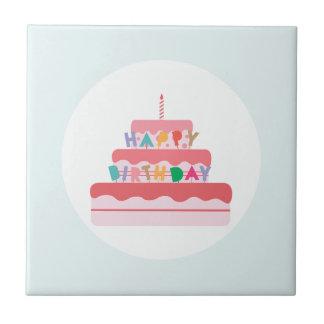 De gelukkige Cake van de Verjaardag Keramisch Tegeltje