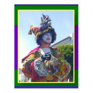 De gelukkige clown van Mardis Gras Briefkaart