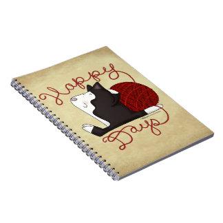 De Gelukkige Dagen van de Kat van de smoking Ringband Notitieboek