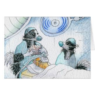 De gelukkige de verpleegster en de chirurgenhond kaart