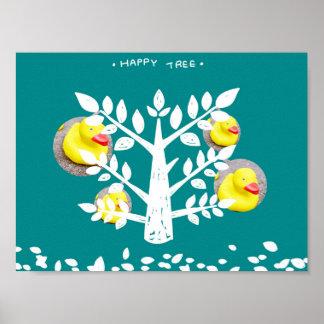 De gelukkige Druk van de Eend van de Boom Gele Poster
