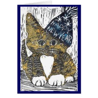De gelukkige Druk van het Blok van de Kat van het Kaart
