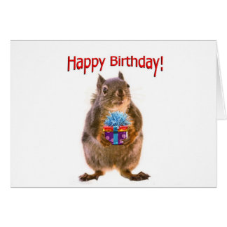 De gelukkige Eekhoorn van de Verjaardag met Cadeau Kaart