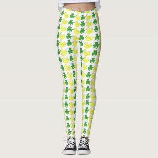 De gelukkige Gele Rubber Groene Klaver Ducky van Leggings