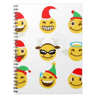 de gelukkige gezichten van Kerstmisemoji Ringband Notitie Boek