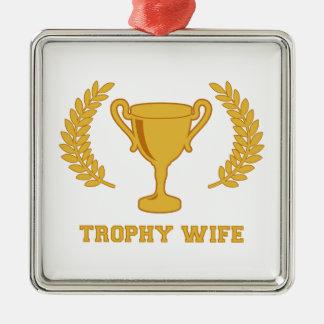 De gelukkige Gouden Vrouw van de Trofee Zilverkleurig Vierkant Ornament