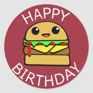 De gelukkige Hamburger van de Kaas van de Ronde Sticker