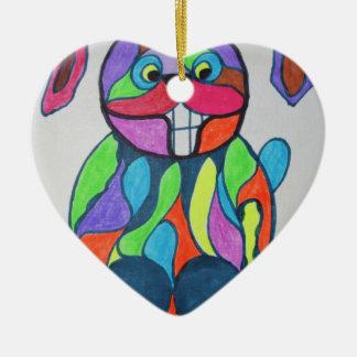 De gelukkige Hazen Keramisch Hart Ornament