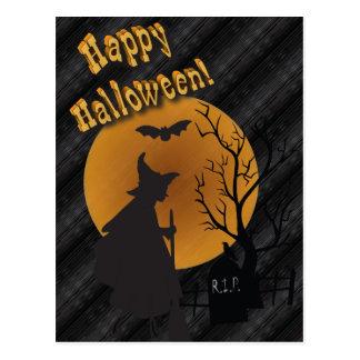 De gelukkige Heks van het Silhouet van Halloween Briefkaart