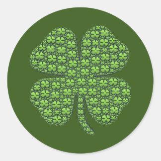 De gelukkige Ierse Donkergroene Ronde Sticker van
